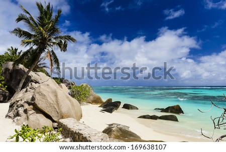 Gorgeous tropical beach on a sunny day. Anse Source d'Argent, Seychelles - stock photo