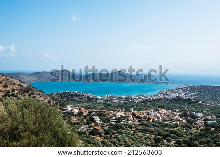 gorgeous view of Elounda town in Crete, Greece - stock photo