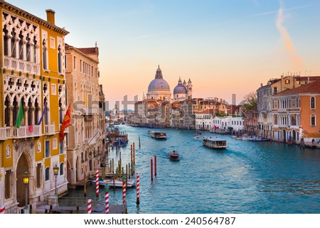 Gorgeous view of the Grand Canal and Basilica Santa Maria della Salute during sunset, Venice, Italy.  - stock photo