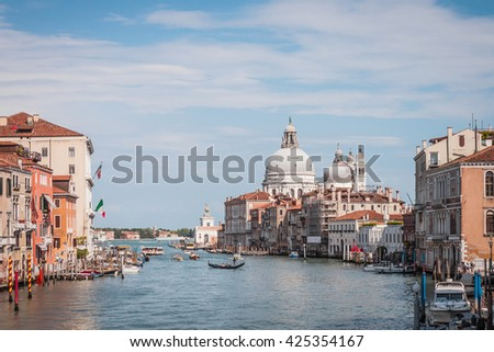 Gorgeous view of the Grand Canal and Basilica Santa Maria della Salute, Venice, Italy. 2016 - stock photo