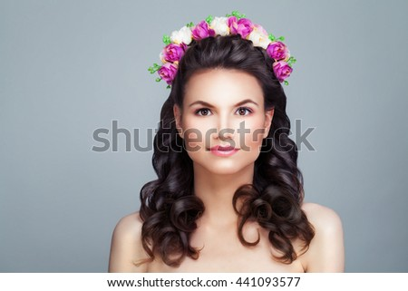 Gorgeous Woman Fashion Model. Bright Summer Beauty. Young Brunette. Makeup, Bridal Hairstyle and Flowers Wreath - stock photo