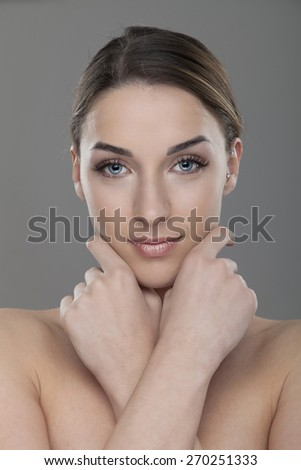 Gorgeous woman with blue eyes  - stock photo