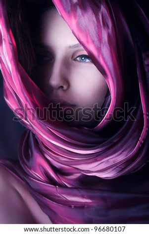 gorgeous woman with purple color scarf - stock photo