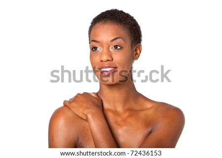 Gorgeous young african american woman with short hair style - stock photo