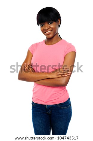 Gorgeous young african teen posing with crossed arms - stock photo