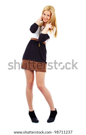 Gorgeous young blond woman isolated on white background - stock photo