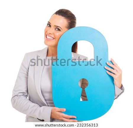 gorgeous young woman holding blue paper lock  - stock photo