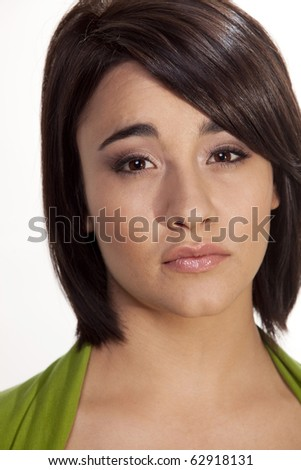 Gorgeous young woman with a thoughtful expression - stock photo