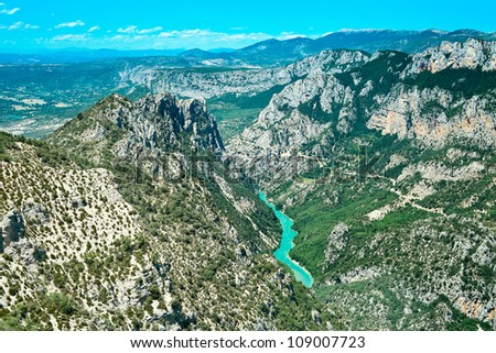 Gorges du Verdon european canyon and river aerial view. Alps, Provence, France. - stock photo
