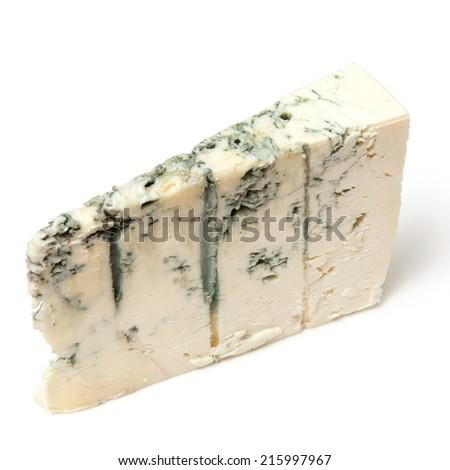 Gorgonzola Italian blue-veined cheese isolated on a white studio background. - stock photo