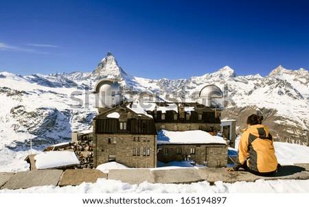 Gornergart observatory station with Matterhorn in the background, Zermatt, Switzerland - stock photo