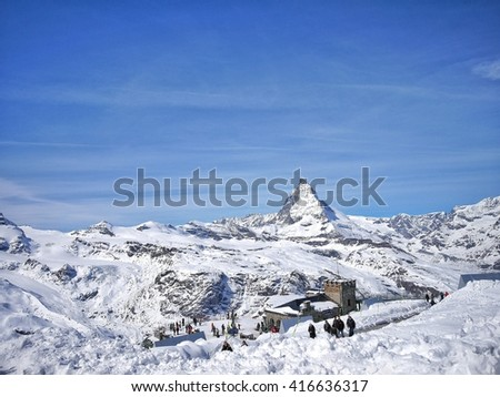 GORNERGRAT STATION, SWITZERLAND - APRIL 10 : Matterhorn view, the famous summit in Zermatt, Switzerland. It is 4,478 meters high, one of the higest summits in the Alps. April 10, 2016 Switzerland - stock photo