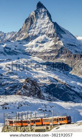 Gornergrat/Switzerland-Dec23 : Train on the way to Gornergrat station over looking Matterhorn peak on Dec23,2015 in Gornergrat / Switzerland - stock photo