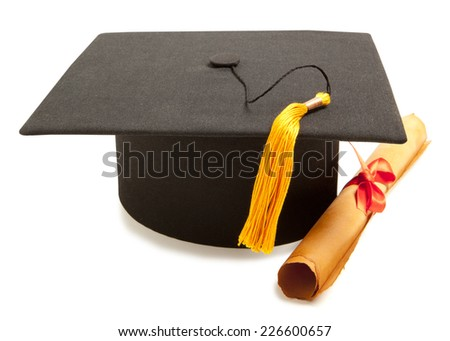 Gortar board and graduation scroll, isolated on white  - stock photo