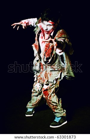 gory bloody and scary zombie - stock photo