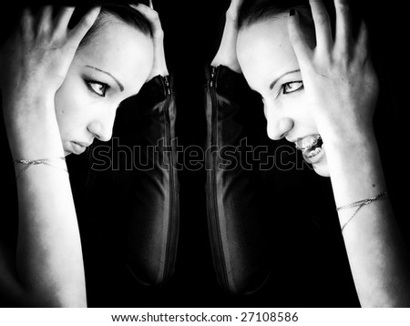 Goth woman double portrait. Black and white. - stock photo
