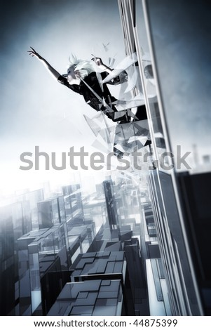Goth woman jumping out of the skyscraper. Cold blue tint. - stock photo