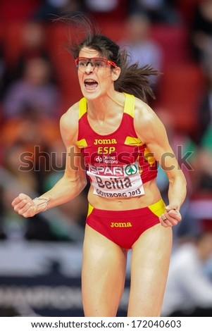 GOTHENBURG, SWEDEN - MARCH 3 Ruth Beitia (Spain) wins the women's high jump finals during the European Athletics Indoor Championship on March 3, 2013 in Gothenburg, Sweden. - stock photo