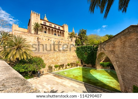 Gothic art cathedral of Palma de Mallorca, inner courtyard view - stock photo