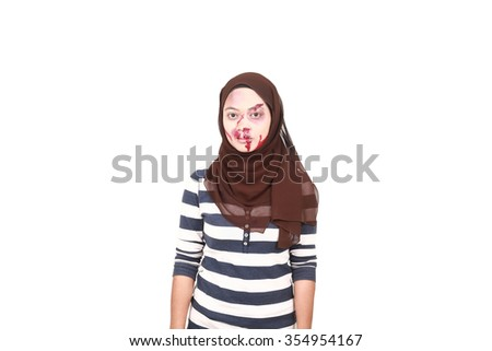 Gothic asian woman with blood - stock photo
