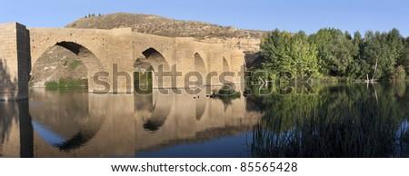 Gothic bridge of Briñas (La RIoja,Spain) - stock photo