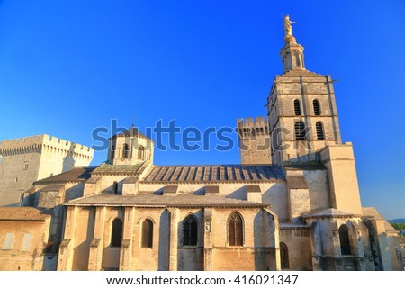 Gothic building of the Avignon Cathedral, Provence, France - stock photo