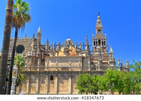 Gothic building of the Cathedral of Saint Mary of the See (Seville Cathedral) in Seville, Andalusia, Spain - stock photo