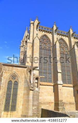 Gothic building of the Saint Nazaire Basilica, Carcassonne, Languedoc-Roussillon, France - stock photo