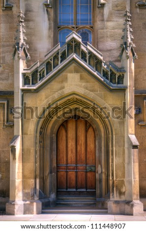 Gothic cathedral door Old Gothic door to a large church or cathedral. - stock photo