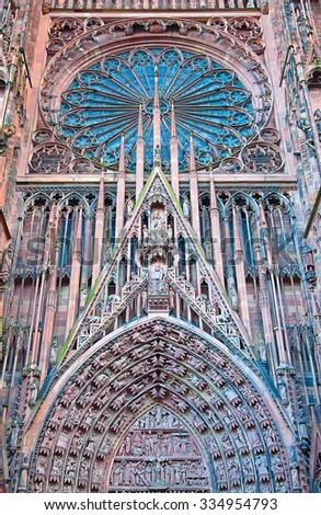 Gothic Cathedral of Strassbourg, main town of the Alsace region, France - stock photo