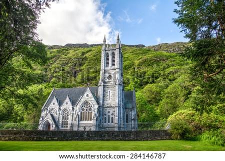 Gothic church in Connemara mountains, Ireland - stock photo