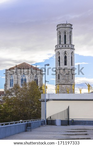 Gothic Church of Saint Peter near Dali's Theatre - Museum building in Figueres, Catalonia. This is Cathedral in which in 1904 young Dali christened. - stock photo