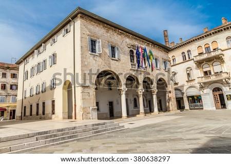 Gothic Communal Palace On Forum Square - Pula, Istria, Croatia - stock photo