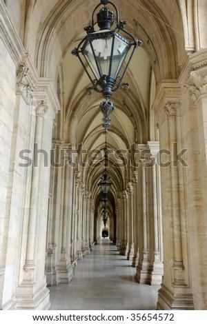 Gothic corridor - stock photo