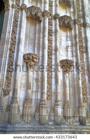 Gothic decorations on the old stone building of the Cathedral of Saint Mary of the See (Seville Cathedral) in Seville, Andalusia, Spain - stock photo