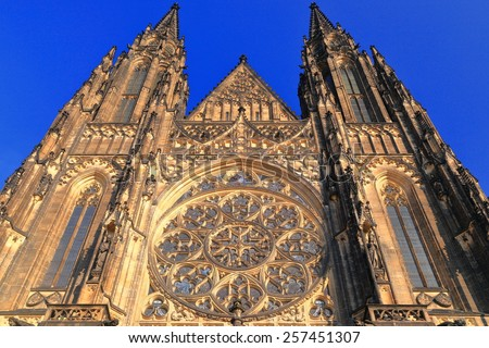 Gothic facade above the entrance to St Vitus Cathedral, Prague, Czech Republic - stock photo