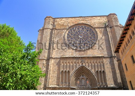 Gothic facade of of Santa Maria del Pi church in Barcelona, Catalonia, Spain - stock photo