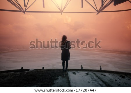 Gothic girl in a sunset picture - stock photo