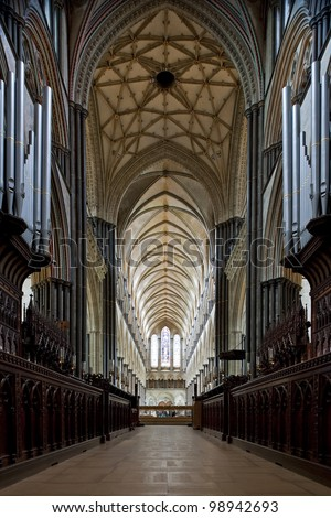 Gothic nave of the beautiful Salisbury Cathedral in England - stock photo