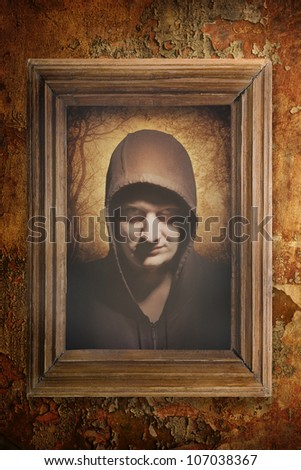 Gothic portrait in ancient image - stock photo