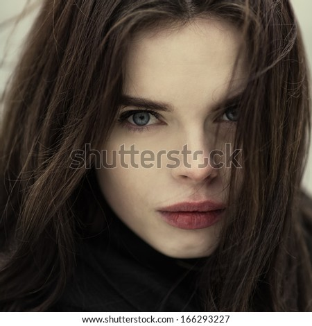 Gothic portrait of a beautiful girl closeup - stock photo