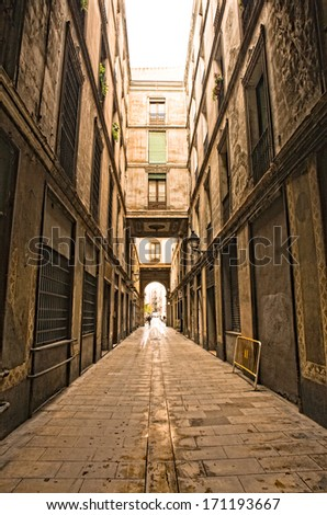 Gothic quarter in the morning. Empty alleyways in Barcelona, Spain - stock photo