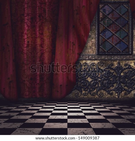 Gothic room interior with checkered floor and red curtain. - stock photo