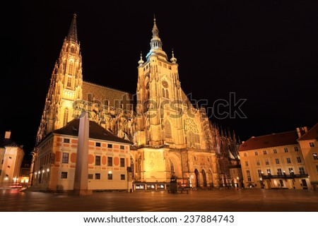 Gothic St. Vitus' Cathedral on Prague Castle in the Night, Czech Republic - stock photo