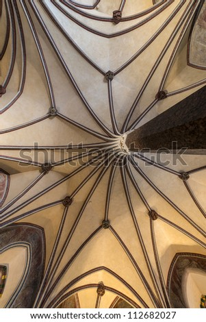 Gothic vault in Malbork castle in Pomerania region of Poland also known as Marienburg - stock photo