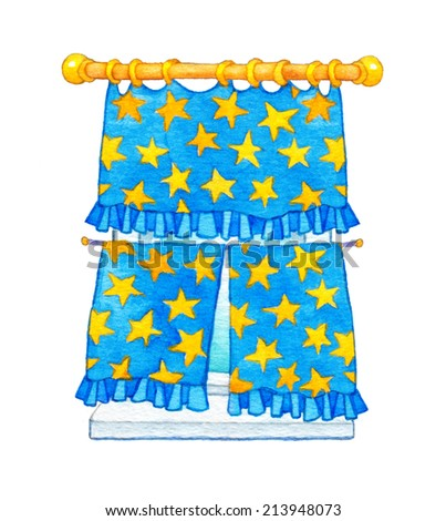 Gouache cute image in style of book illustration isolated on white backdrop. Cheerful curtains with ruffles and vivid pattern of yellow stars hanging on the ledge above the window and closes the light - stock photo