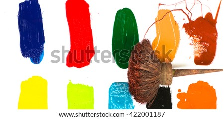 gouache paint and brush, isolated on white - stock photo