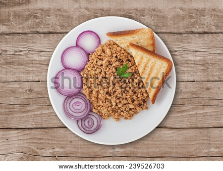 Goulash with red onion. A Serbian traditional dish made from beef and pork - stock photo