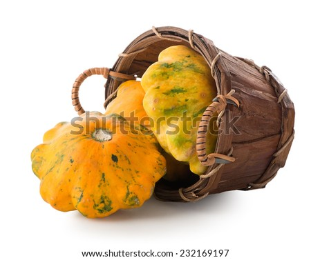 Gourds in a basket isolated on a white background - stock photo