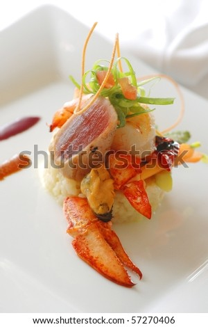 Gourmet appetizer with lobster and mussel - stock photo